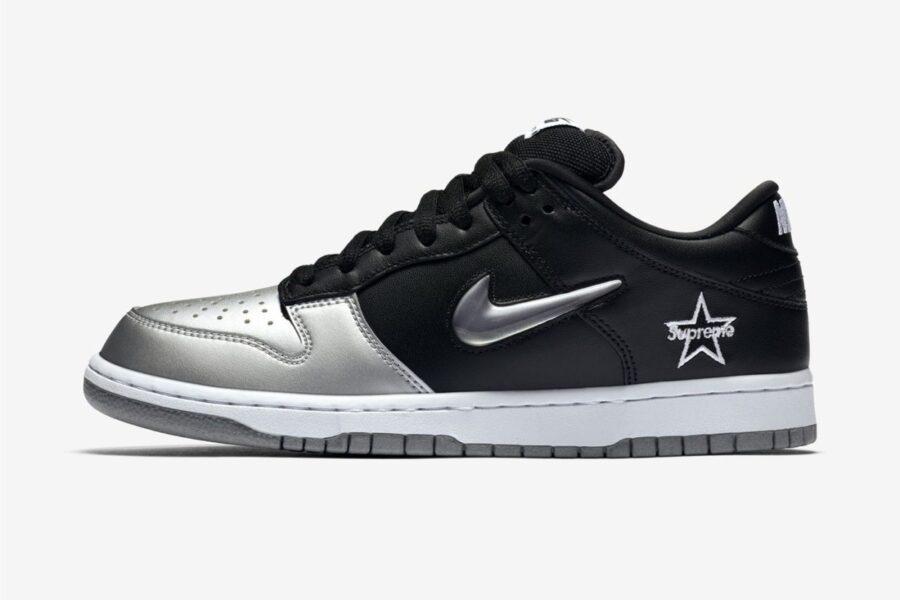 "Первый взгляд на Supreme x Nike SB Dunk Low ""Black/Metallic Silver"""