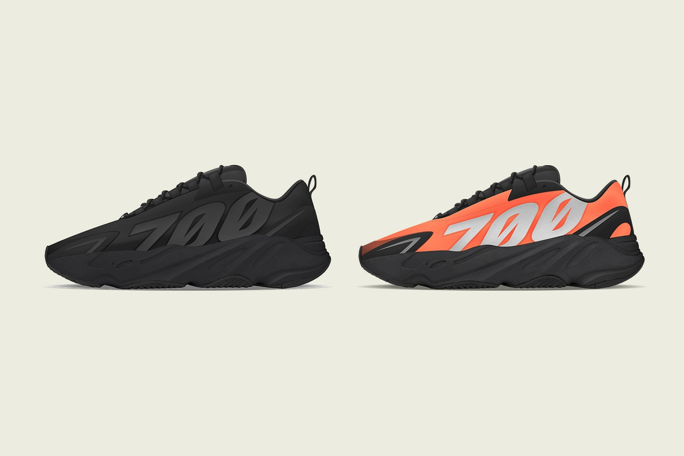 "YEEZY BOOST 700 MNVN ""Triple Black"" & ""Orange"""