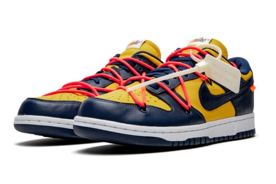 "Off-White & Nike Dunk Low в цвете ""University Gold"""