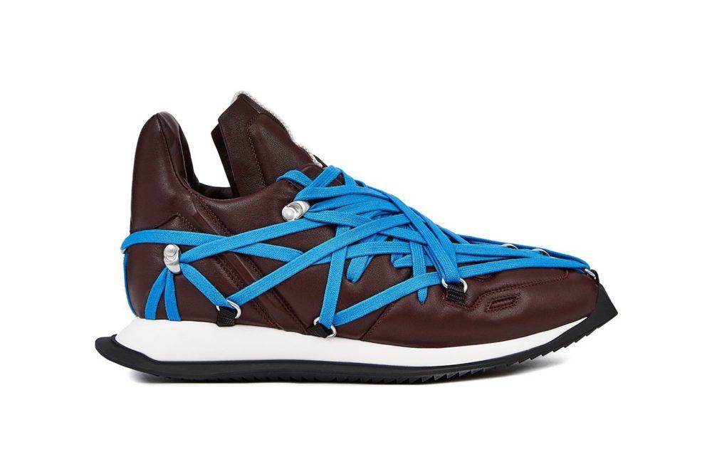 Rick Owens Maximal Runner из бордовой кожи ягненка с ярко-синей шнуровкой