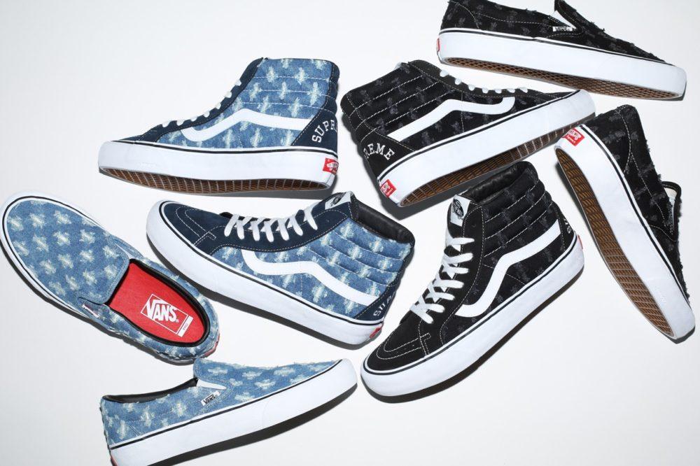 Supreme и Vans выпустили Sk8-Hi Pro и Slip-On Pro черного или синего цвета из джинсовой ткани
