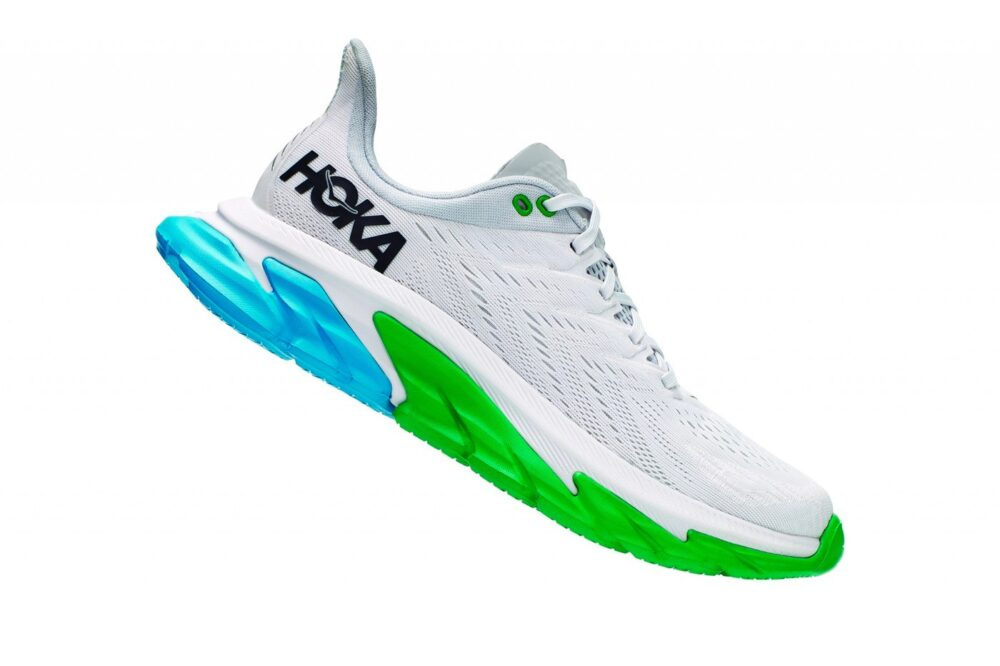 Кроссовки HOKA ONE ONE Clifton Edge с яркими сине-зелеными акцентами