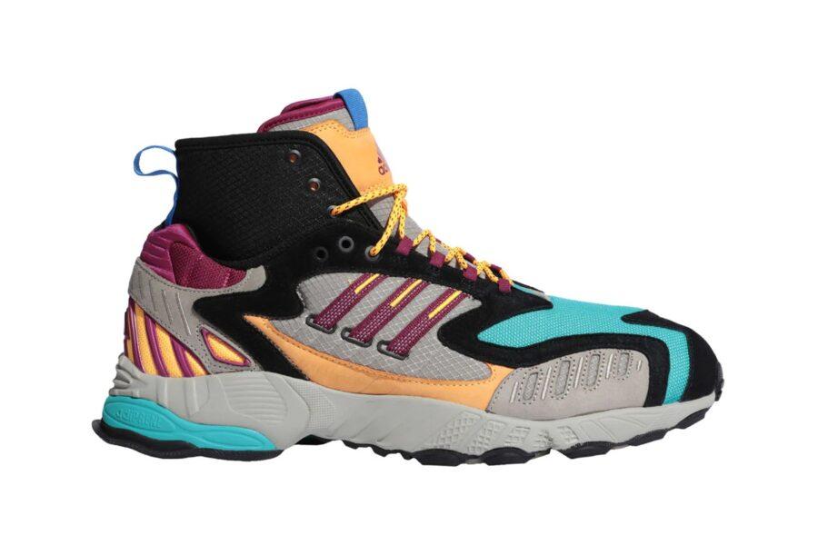 Трейловые кроссовки Adidas Originals Torsion TRDC Mid в цвете «Tech Beige/Power Berry/Solar Gold»