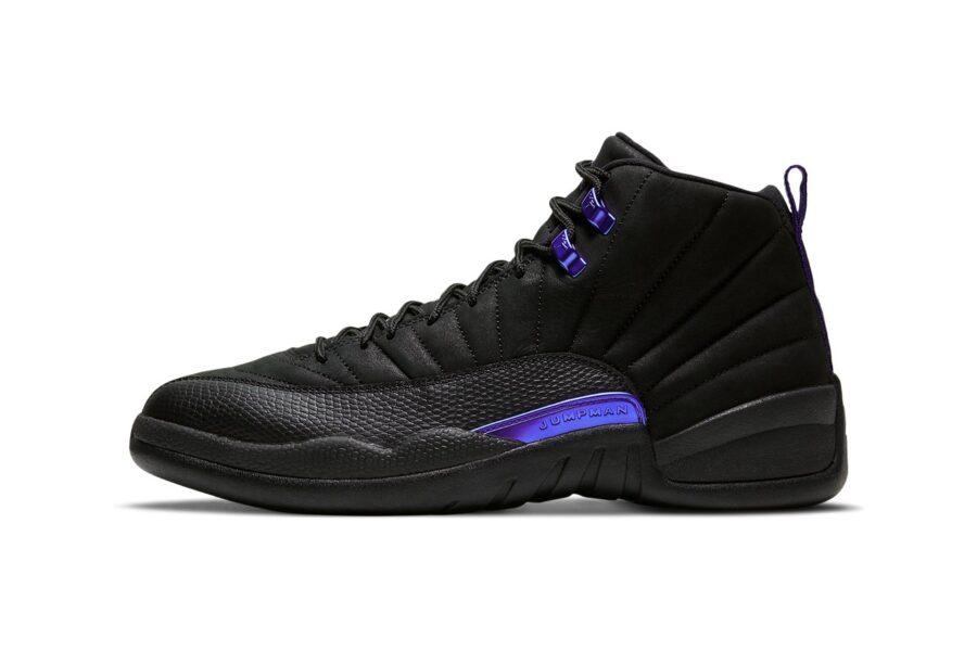 """Черные кроссовки Air Jordan 12 """"Dark Concord"""" с фиолетовыми деталями"""