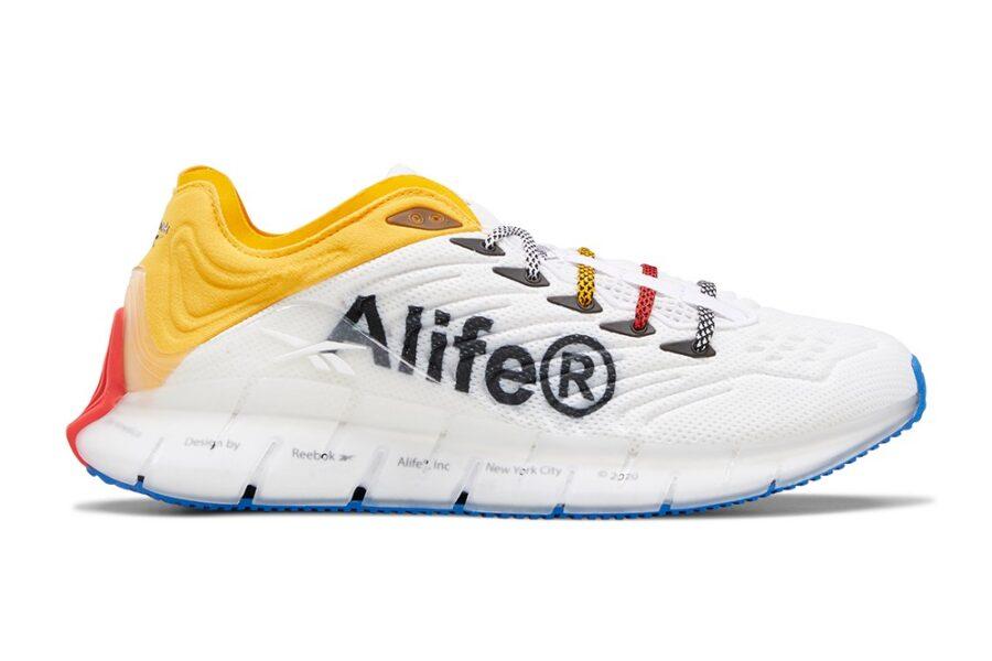 Кроссовки Alife & Reebok Zig Kinetica с фирменным шрифтом Alife в стиле Futura и яркими деталями