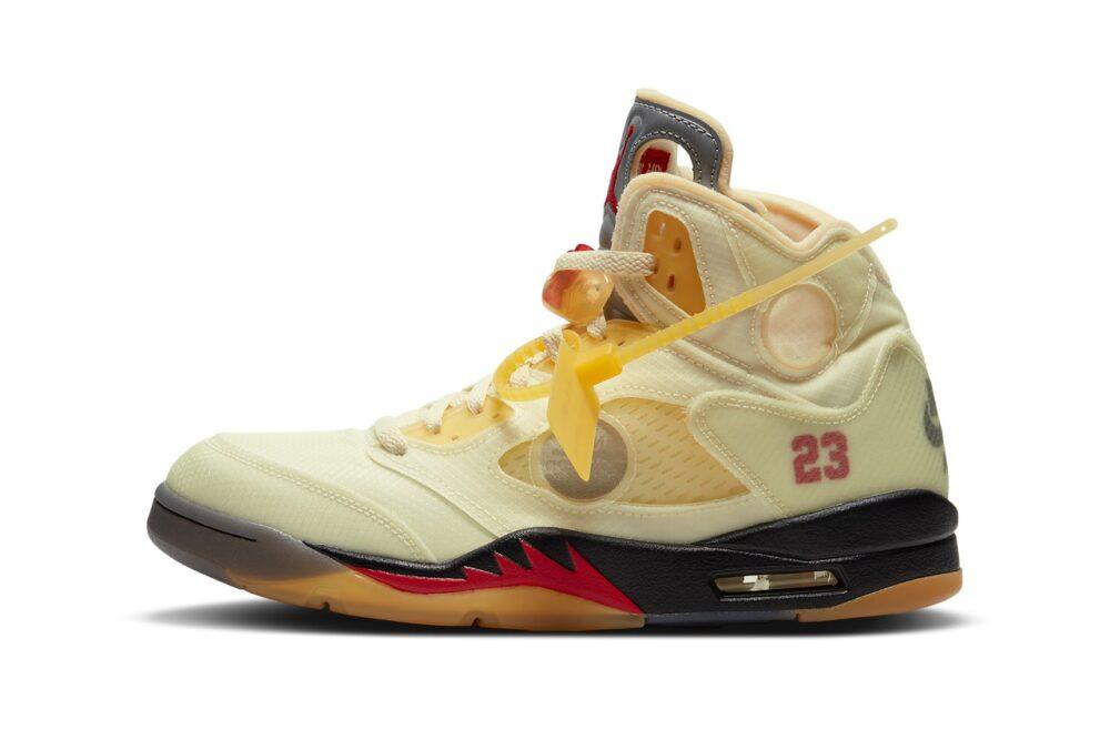 """Официальные изображения кроссовок Off-White ™ x Air Jordan 5 """"Sail"""""""